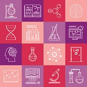 Science and medicine lineart minimal vector iconset on multicolor checkered texture