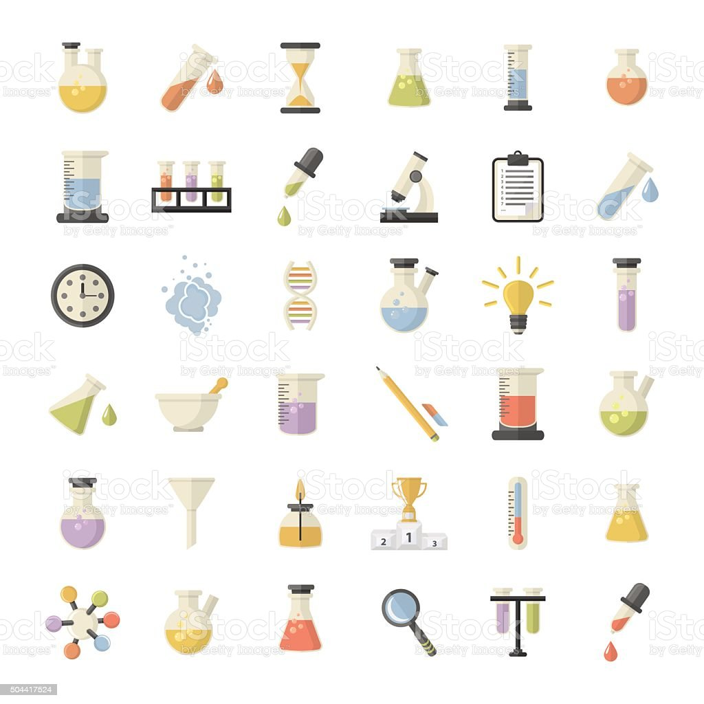 Science and Research icons set vector art illustration