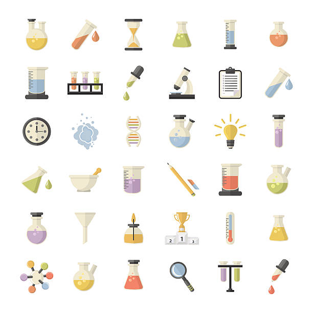 Science and Research  set Vector Big Science and research Web Icons set.Chemistry industry for learning and web applications.Hourglass,lamp,DNA,thermometer,burner in flat style  laboratory flask stock illustrations