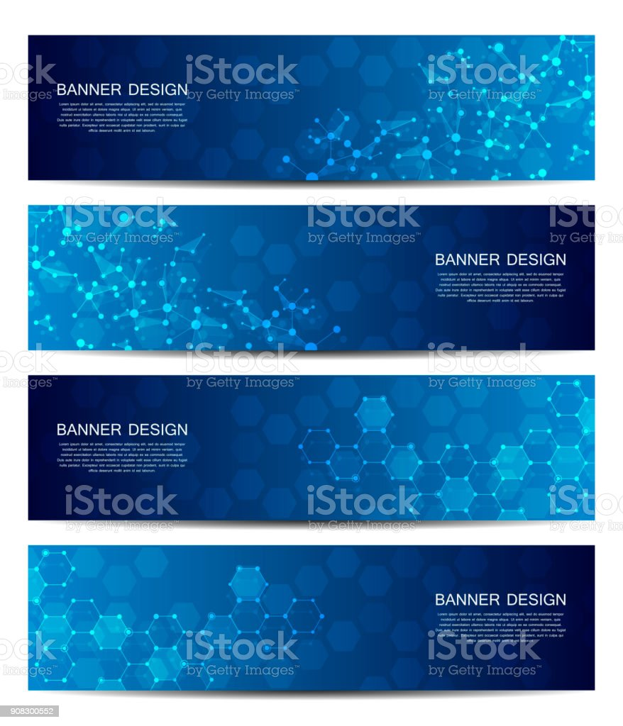 Science and technology banners. DNA molecule structure background. Scientific and technological concept. Vector illustration vector art illustration