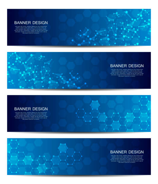 science and technology banners. dna molecule structure background. scientific and technological concept. vector illustration - bio tech stock illustrations, clip art, cartoons, & icons