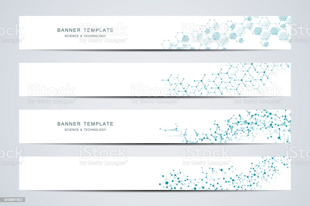 Science and technology banners. Molecular and chemical structure royalty-free science and technology banners molecular and chemical structure stock illustration - download image now