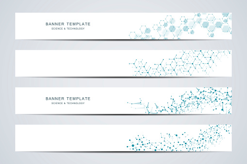 Science and technology banners. Molecular and chemical structure