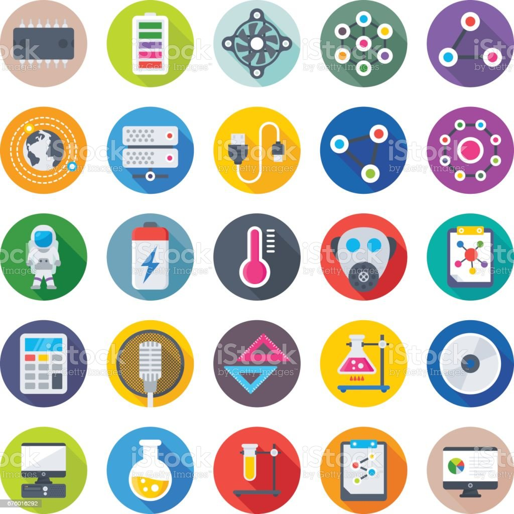 Science and Technology Colored Vector Icons 1 vector art illustration