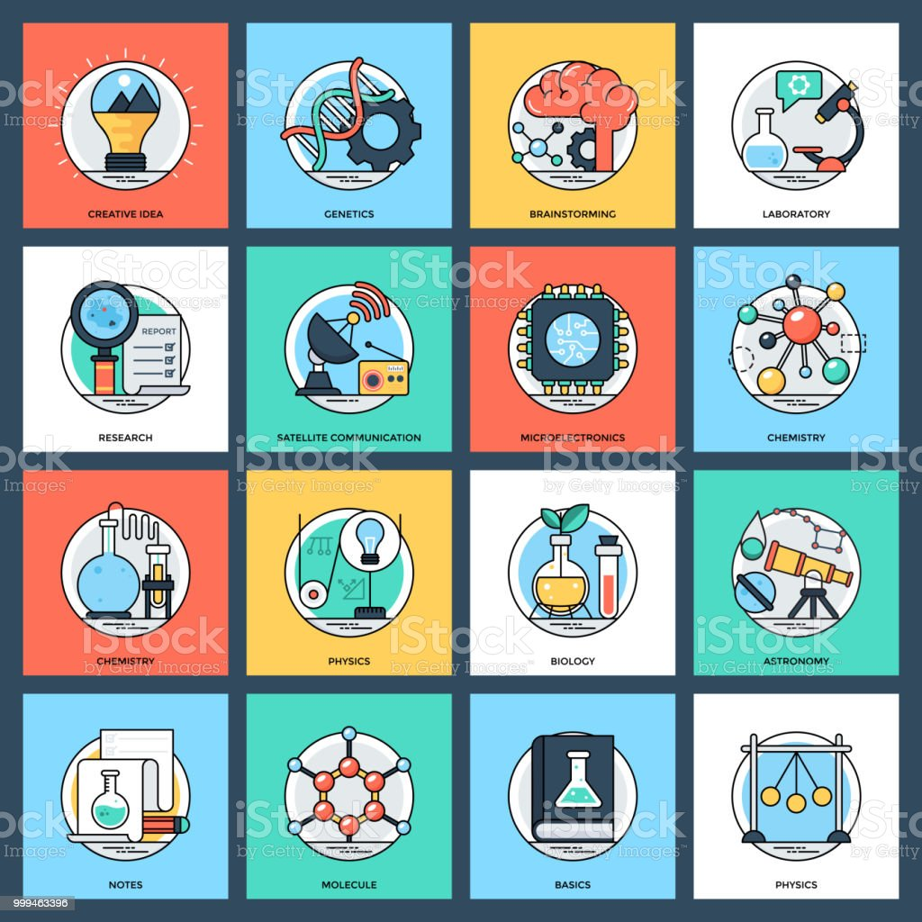Science and Technology Flat Icons Set vector art illustration