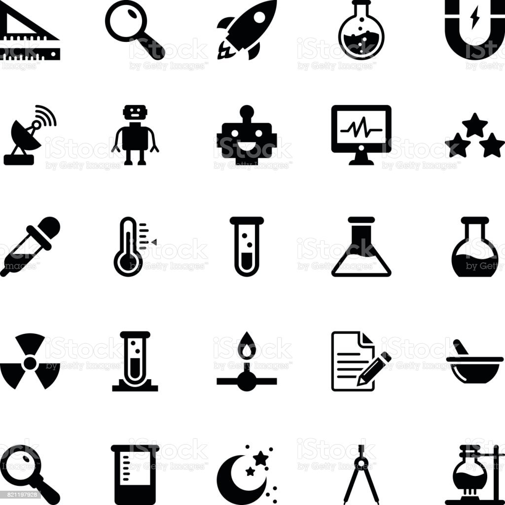 Science and Technology Glyph Vector Icons 4 vector art illustration