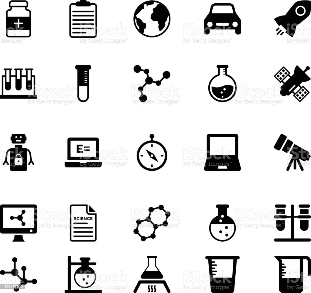 Science and Technology Glyph Vector Icons 6 vector art illustration