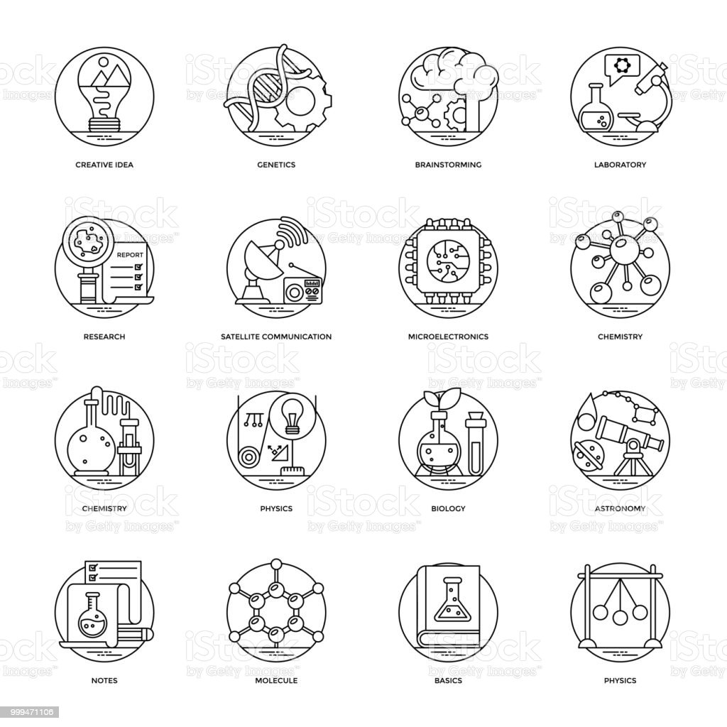 Science and Technology Line Icons Set vector art illustration