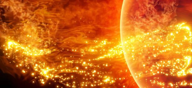 illustrazioni stock, clip art, cartoni animati e icone di tendenza di science background - solar activity in space. solar surface with solar flares, burning of the sun. global warming. vector. - flare