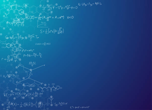 Science background with formulas Science abstract background with formulas. Real string theory and relativity physics formulas on gradient background with chemical skeletal formula of molecules. Scientific banner for text placement. mathematical symbol stock illustrations