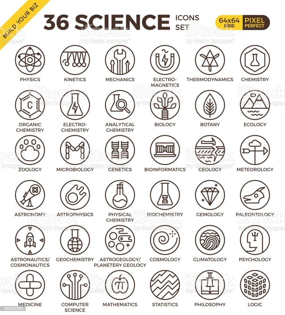 Science badge icon vector art illustration