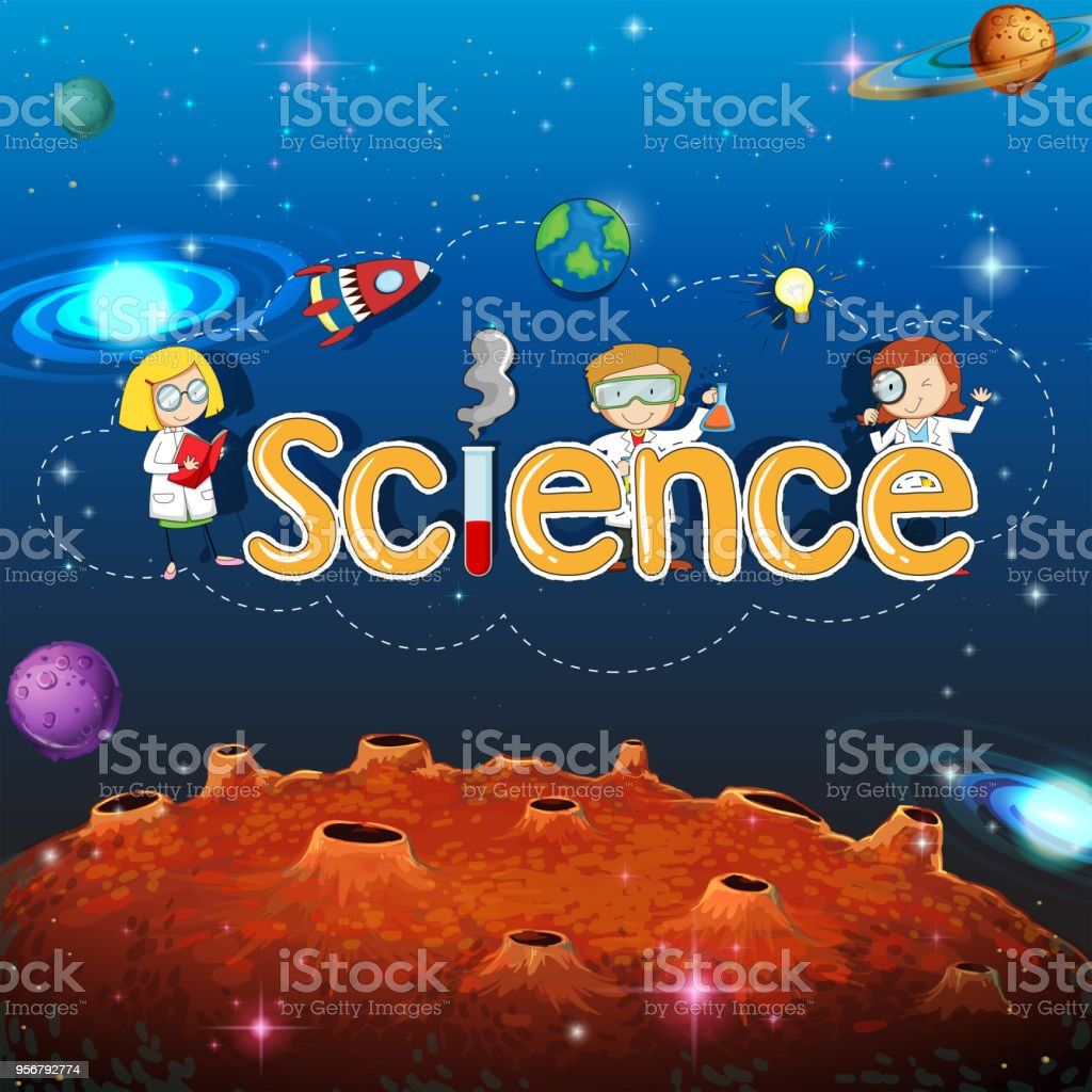 science banner on planet template stock vector art more images of