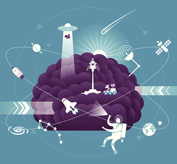science brain - space exploration stock illustrations, clip art, cartoons, & icons