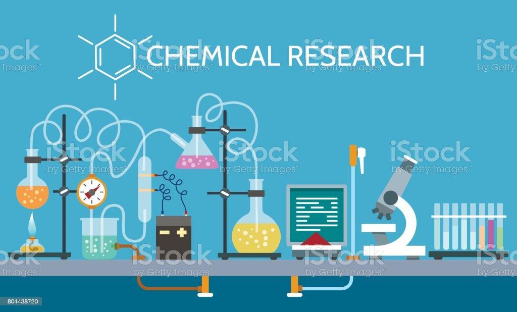 Laboratório de ciências químicas - ilustração de arte em vetor
