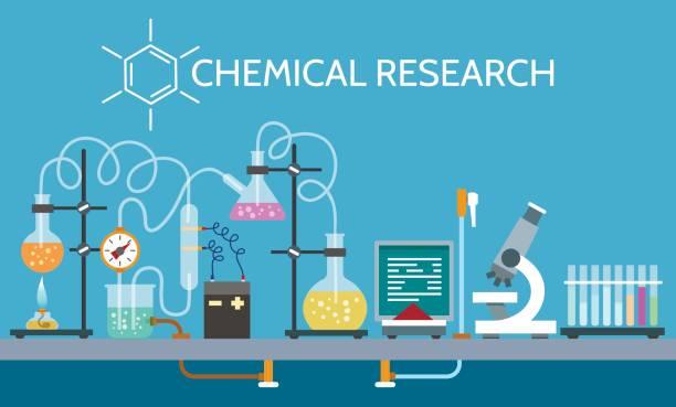 ilustraciones, imágenes clip art, dibujos animados e iconos de stock de laboratorio químico de la ciencia - laboratory