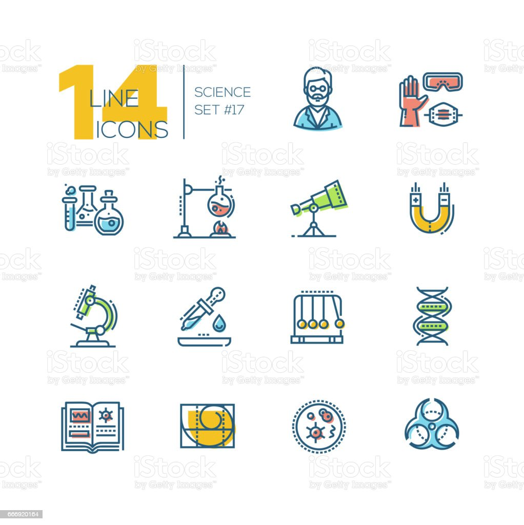 Science - colored modern single line icons set vector art illustration