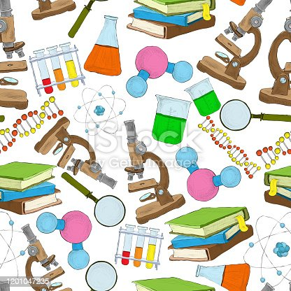 Science education sketch seamless wallpaper with atom structure flask laboratory equipment vector illustration