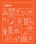 Science Concept. Geometric Retro Style Banner and Poster Concept with Science Related Line Icons