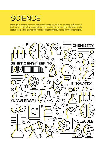 Science Concept Line Style Cover Design for Annual Report, Flyer, Brochure.