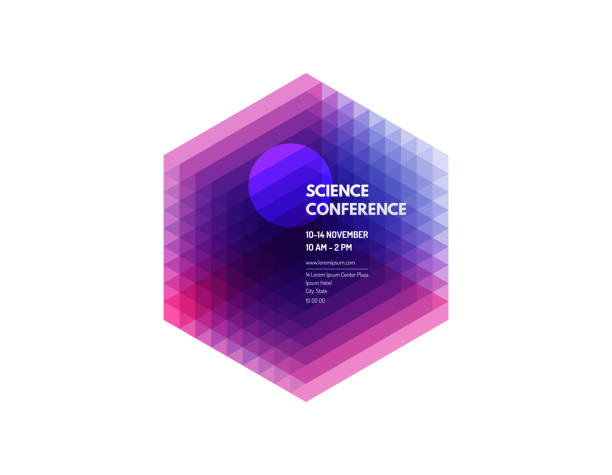 Science conference. Abstract geometric background with realistic cube.  Vector illustration for banner, poster, flyer and magazine page. vector art illustration