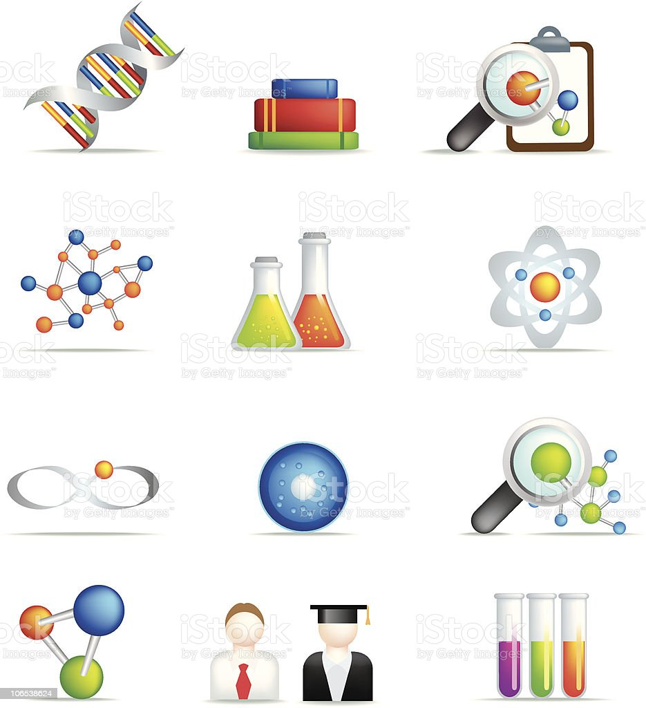 science detailed icon set in full colour royalty-free stock vector art