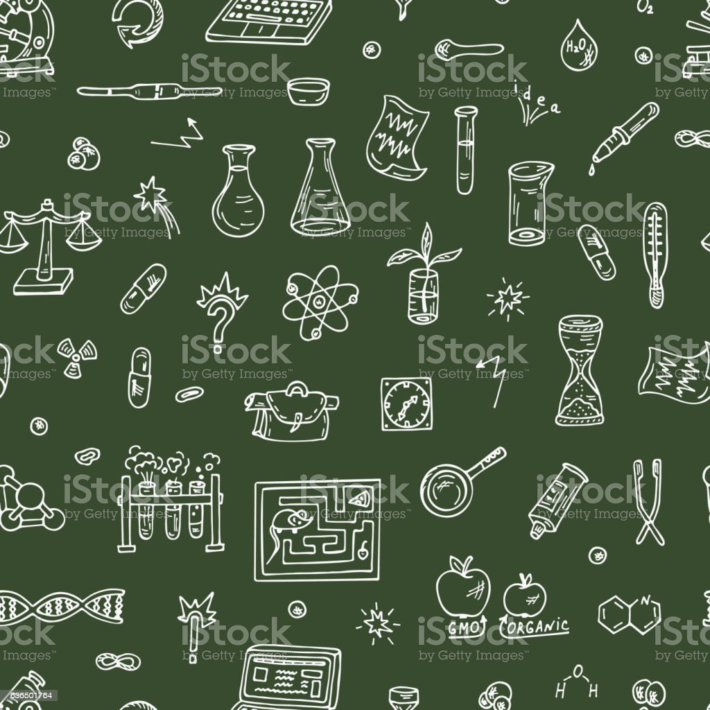 Science Doodle Seamless Background vector art illustration