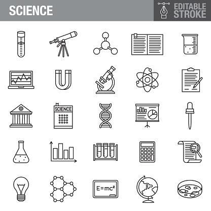 Science Editable Stroke Icon Set