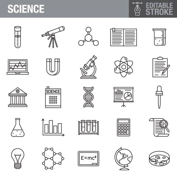 Science Editable Stroke Icon Set A set of editable stroke thin line icons. File is built in the CMYK color space for optimal printing. The strokes are 2pt and fully editable: Make sure that you set your preferences to 'Scale strokes and effects' if you plan on resizing! laboratory glassware stock illustrations