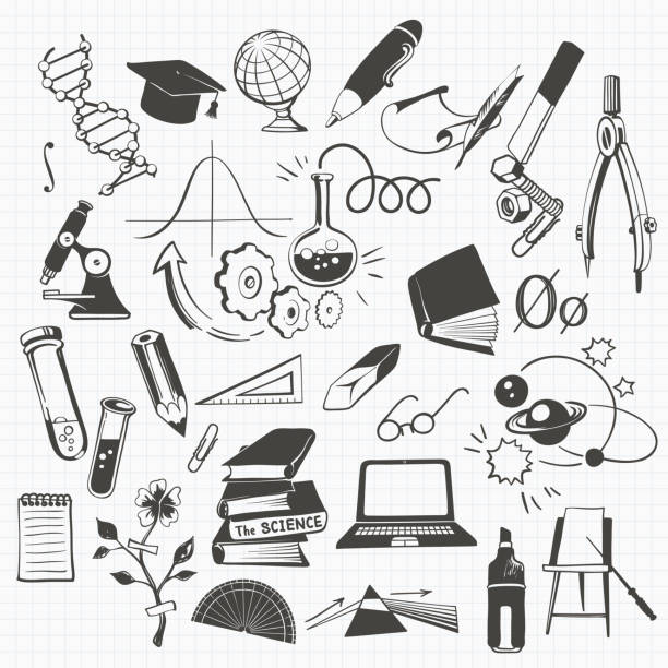 科学、教育および学校のクリップアート - 学校の文房具点のイラスト素材/クリップアート素材/マンガ素材/アイコン素材
