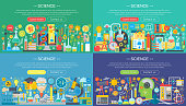 Science, education, online learning, smart ideas and research horisontal flat concept design horizontal banners set
