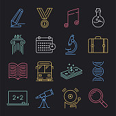 Modern science education standards neon style concept outline symbols. Line vector icon sets for infographics and web designs.