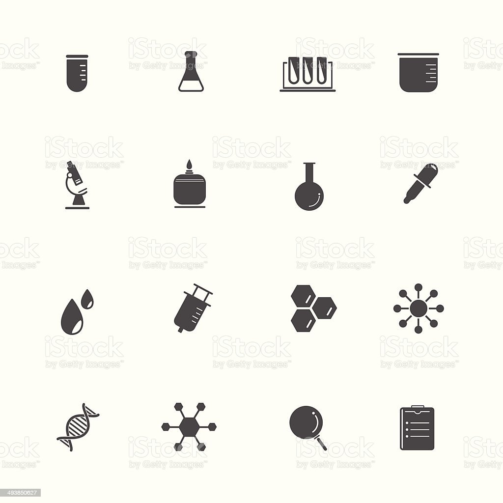 Science Equipment and Lab black Icons vector art illustration