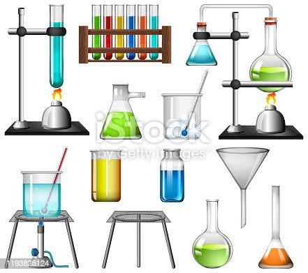 Science equipments on white background illustration