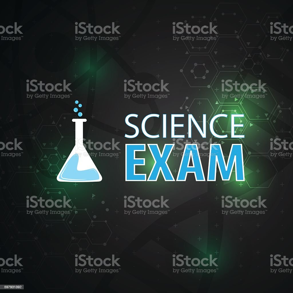 science exam symbol sign scientific molecular pattern design background vector art illustration