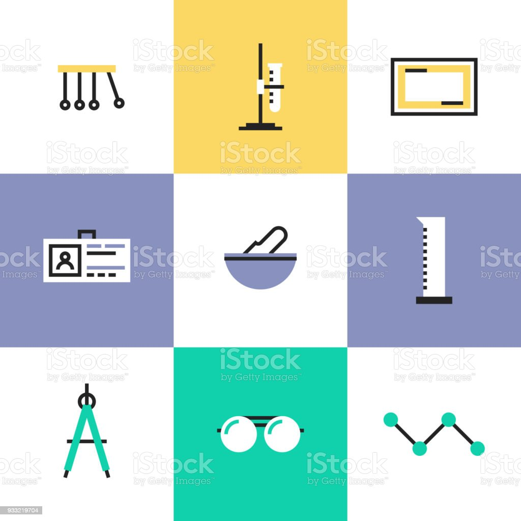 Science experiment pictogram icons set vector art illustration
