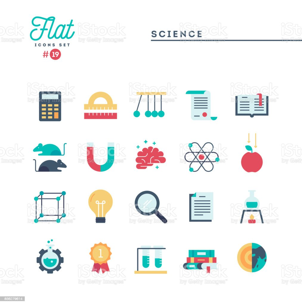 Science, experiments, laboratory, studies and more, flat icons set