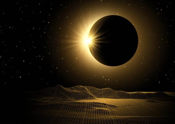 ilustrações de stock, clip art, desenhos animados e ícones de science fiction with wireframe landscape and solar eclipse design - wireframe solar power