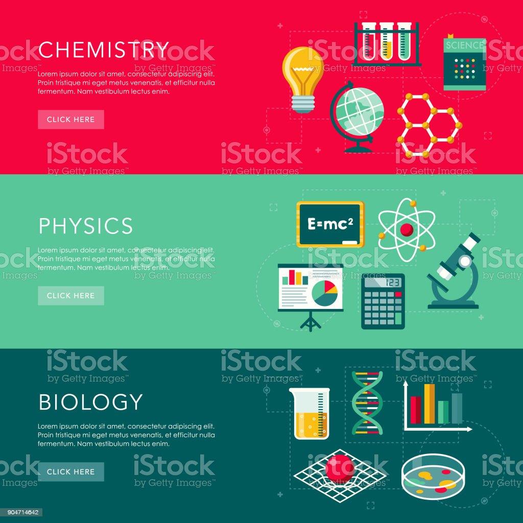 Wissenschaft-flaches Design-Web-Banner setzen – Vektorgrafik