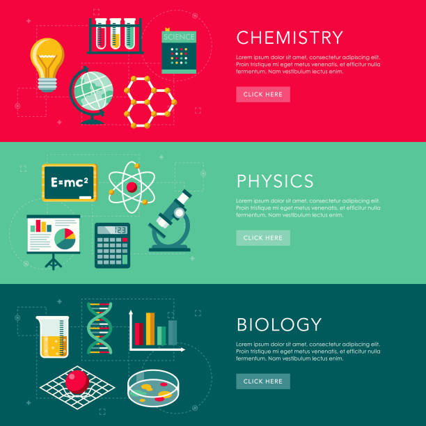 Science Flat Design Web Banners Set vector art illustration