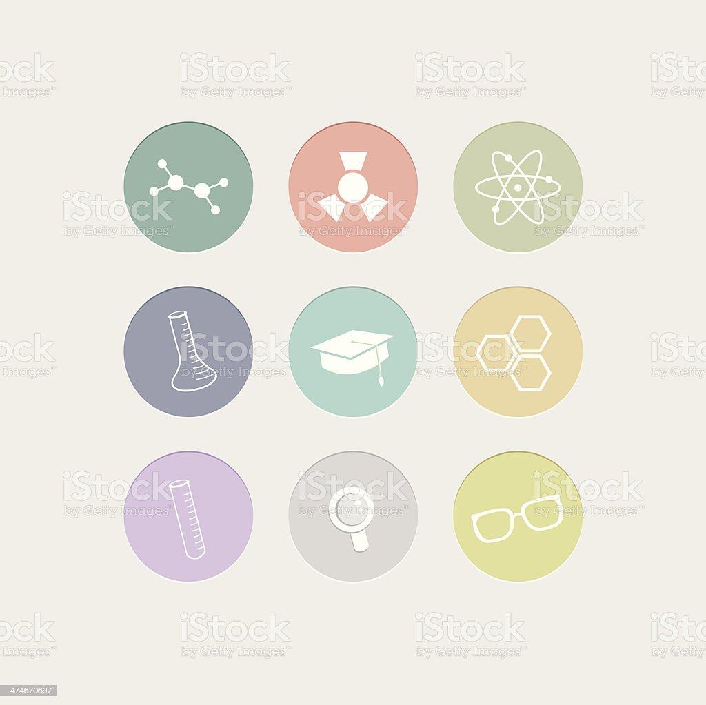 Science flat Icon Set vector art illustration