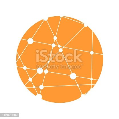 Medical, technology, chemistry and science icon design template, round shape. Molecule and communication pattern. Connected lines with dots.