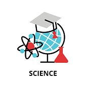 Science icon, flat thin line vector illustration