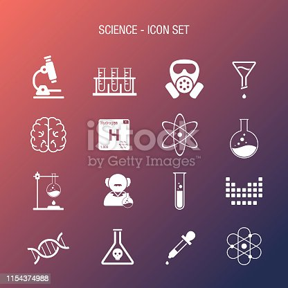 Vector of Science Icon Set Coral and Navy Gradient