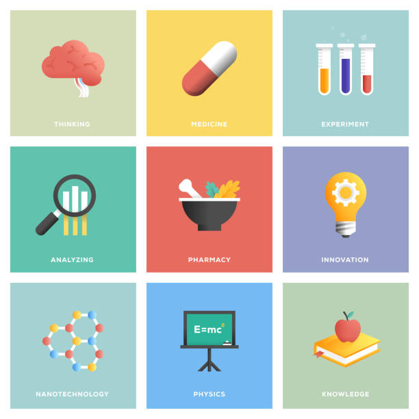 bildbanksillustrationer, clip art samt tecknat material och ikoner med vetenskap ikonuppsättning - brain magnifying