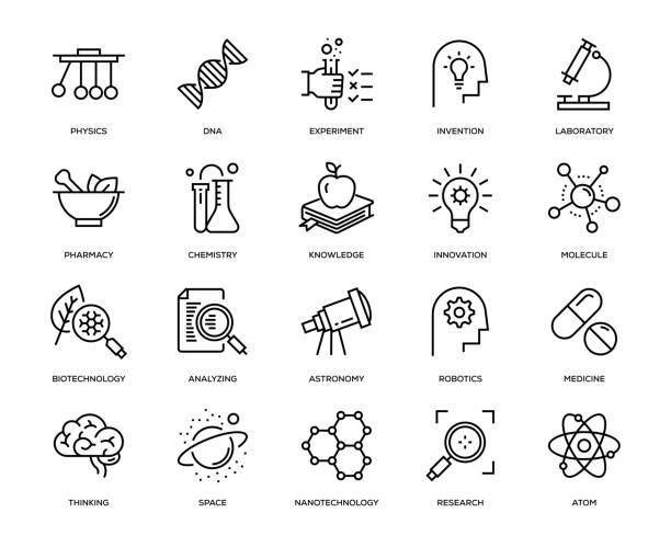 ilustraciones, imágenes clip art, dibujos animados e iconos de stock de conjunto de iconos de ciencia - química