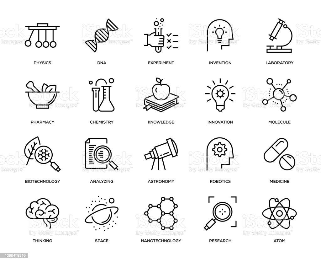 Conjunto de iconos de ciencia - ilustración de arte vectorial