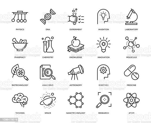 Wetenschap Icon Set Stockvectorkunst en meer beelden van Analyseren