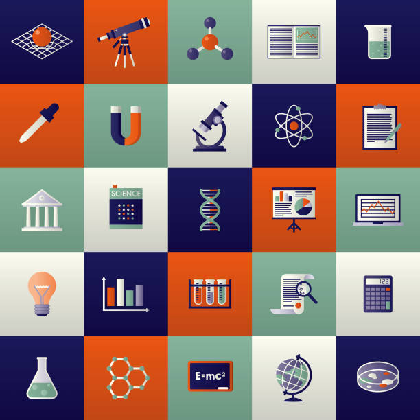 Science Icon Set A set of icons. File is built in the CMYK color space for optimal printing. Color swatches are global so it's easy to edit and change the colors. beaker stock illustrations