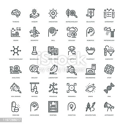 36 Science Icons - Line Series