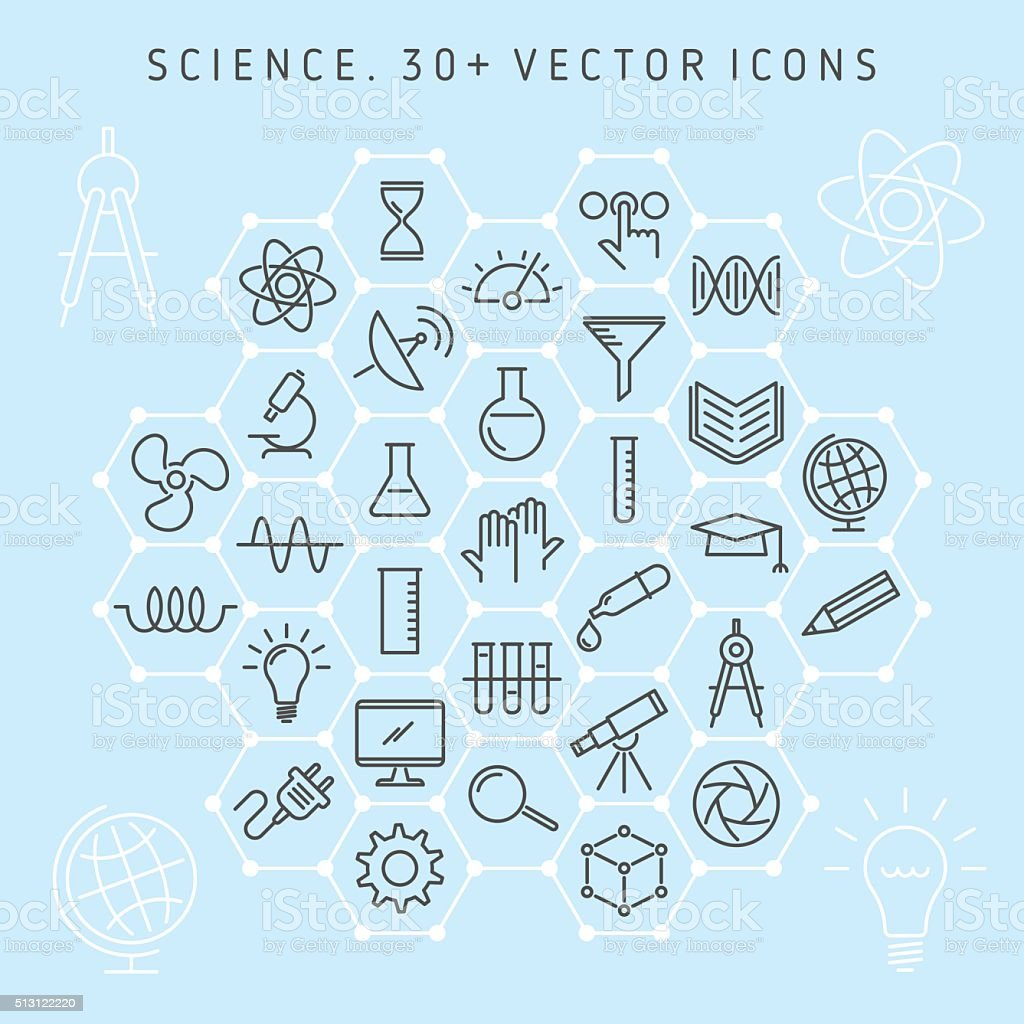 Conjunto de ícones de ciência - ilustração de arte vetorial